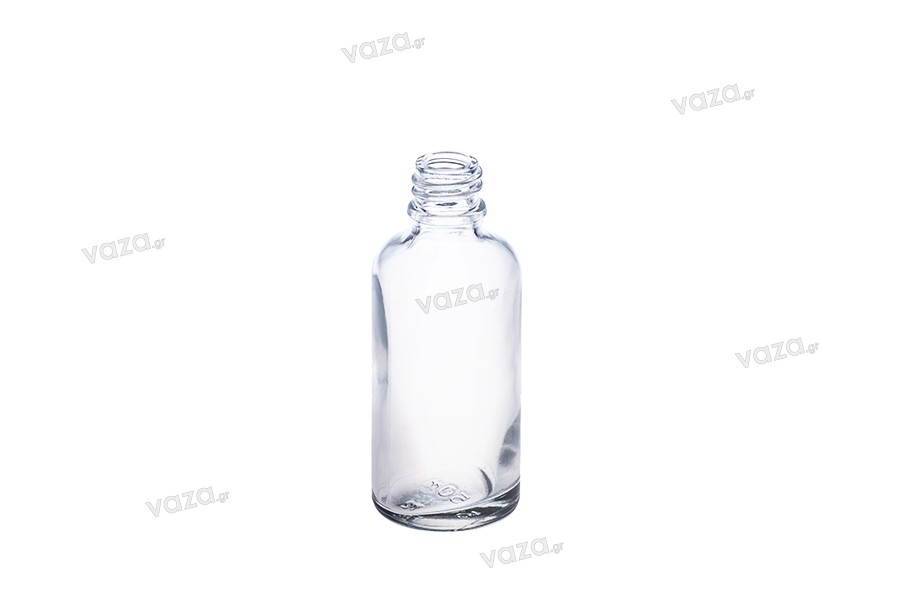 Γυάλινο μπουκαλάκι για αιθέρια έλαια 50 ml διάφανο με στόμιο PP18