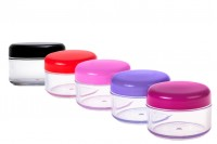 Βάζο ακρυλικό 50 ml με καπάκι σε διάφορα χρώματα και ασημί ρίγα σε συσκευασία 12 τεμαχίων