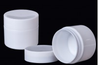Plastic white cream jar double wall 50 ml in packs of 12 pieces