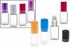 Γυάλινο φιαλίδιο roll-on 5ml σε διάφορα χρώματα
