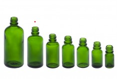 Γυάλινο μπουκαλάκι για αιθέρια έλαια 50 ml πράσινο με στόμιο PP18
