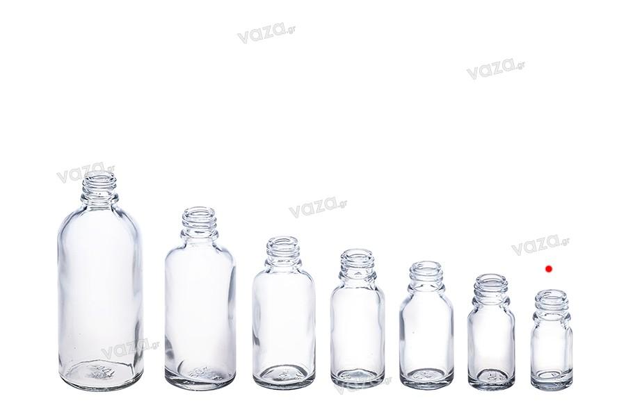 Γυάλινο μπουκαλάκι για αιθέρια έλαια 5 ml διάφανο με στόμιο PP18