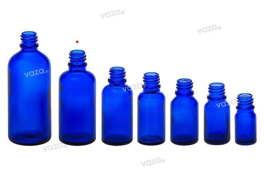 Γυάλινο μπουκαλάκι για αιθέρια έλαια 50 ml μπλέ με στόμιο PP18