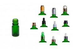 Γυάλινο μπουκαλάκι για αιθέρια έλαια 5 ml πράσινο με στόμιο PP18