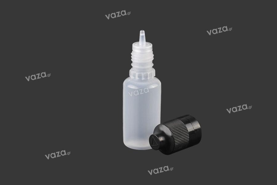 Μπουκαλάκι πλαστικό 15 ml με καπάκι CRC και dropper για ηλεκτρονικό τσιγάρο - 50 τμχ