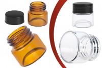 Βαζάκι γυάλινο διάφανο ή καραμελέ με πλαστικό μαύρο καπάκι 5 ml για κρέμες και πρόπολη