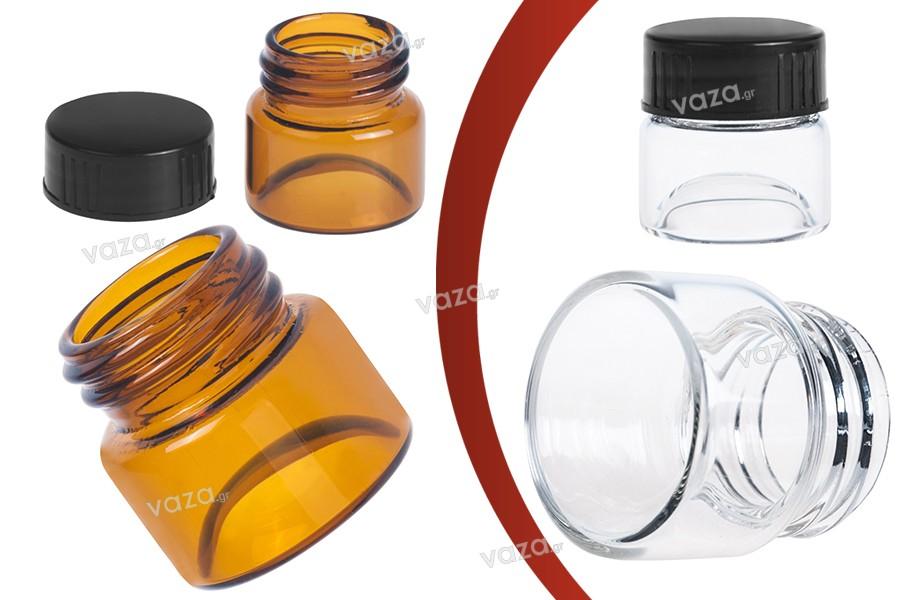 Βαζάκι γυάλινο 5 ml διάφανο ή καραμελέ με πλαστικό μαύρο καπάκι για κρέμες και πρόπολη - 12 τεμάχια
