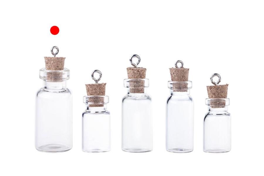 Μπουκαλάκι γυάλινο με φελλό και κρίκο για μπομπονιέρες, κρεμαστό ή διακόσμηση 16x42 mm