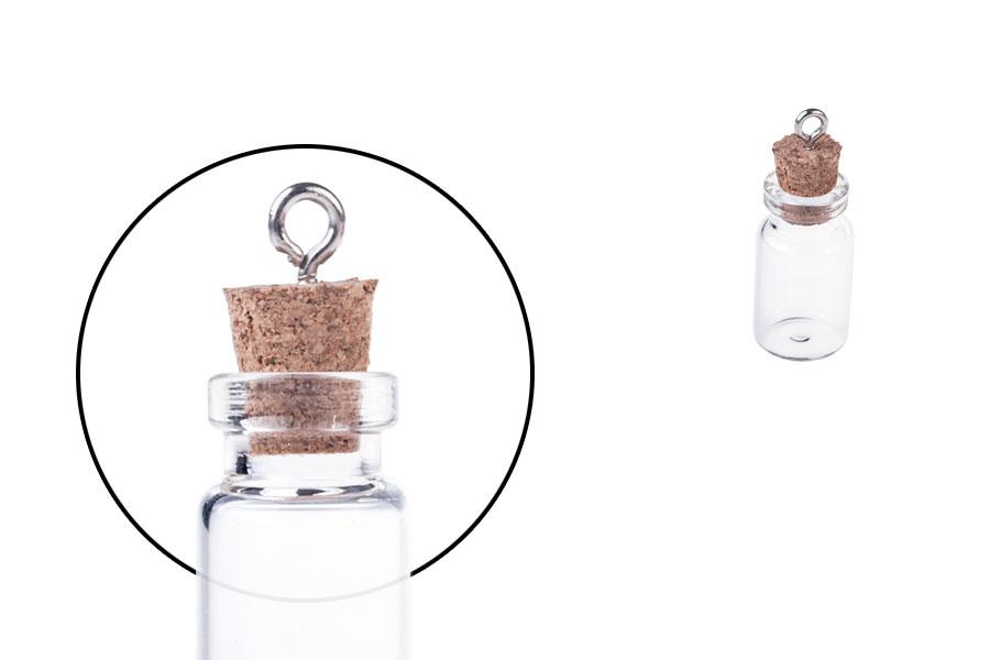 Μπουκαλάκι γυάλινο με φελλό και κρίκο για μπομπονιέρες, κρεμαστό ή διακόσμηση 13x33 mm