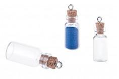 Γυάλινο μπουκαλάκι με φελλό και κρίκο, 13x39 mm