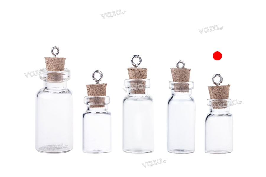 Μπομπονιέρα μπουκαλάκι γυάλινο με φελλό και κρίκο, 12x33 mm