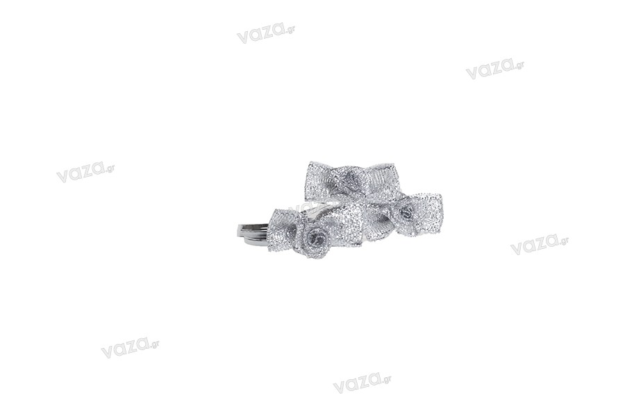 Φιόγκος με δαντέλα ασημί, συρματάκι 15cm - 50 τμχ