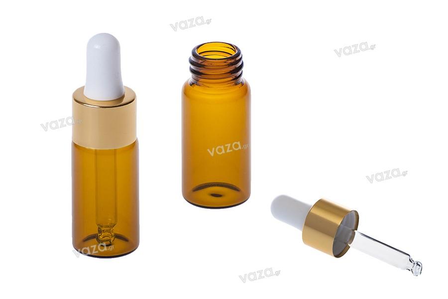Καραμελέ μπουκαλάκια με σταγονομετρητή χρώματος χρυσού 10 ml