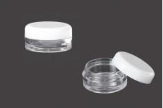 Βαζάκι ακρυλικό 3 ml διάφανο με άσπρο καπάκι
