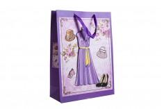 """Χάρτινη 3-D τσάντα δώρο, σχέδιο """"φόρεμα μωβ"""", μέγεθος """"L"""", 31x12x42cm"""