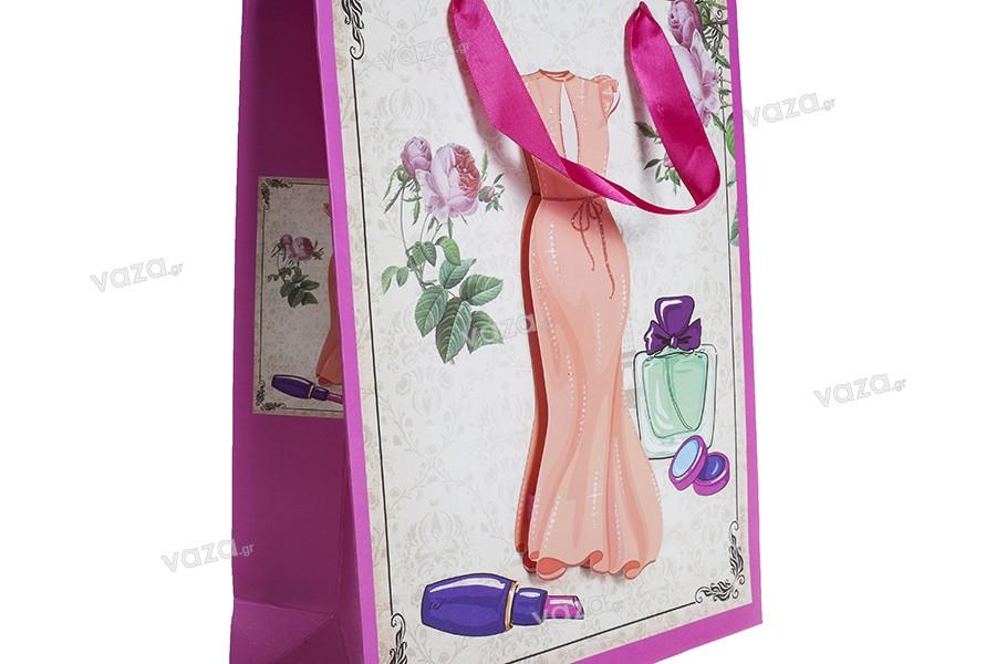 """Χάρτινη 3-D τσάντα δώρο, σχέδιο """"πορτοκαλί φόρεμα"""", μέγεθος """"M"""", 26x10x32cm"""