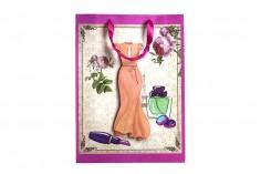 """Χάρτινη 3-D τσάντα δώρο, σχέδιο """"πορτοκαλί φόρεμα"""", μέγεθος """"L"""", 31x12x42cm"""