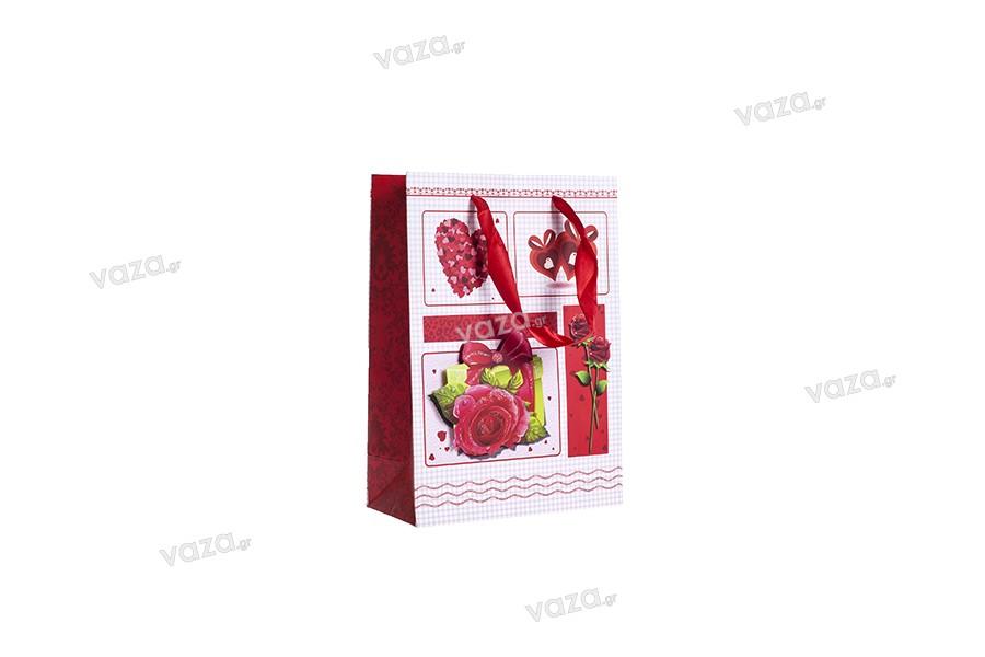 """Χάρτινη 3-D τσάντα δώρο, σχέδιο """"τριαντάφυλλο"""", μέγεθος """"S"""", 18x8.5x25cm"""