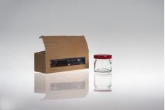 """Χάρτινο κουτάκι παράθυρο με τύπωμα σχέδιο """"ξύλου"""" για 3 βαζάκια 30ml,135x46x42 - 50 τμχ"""