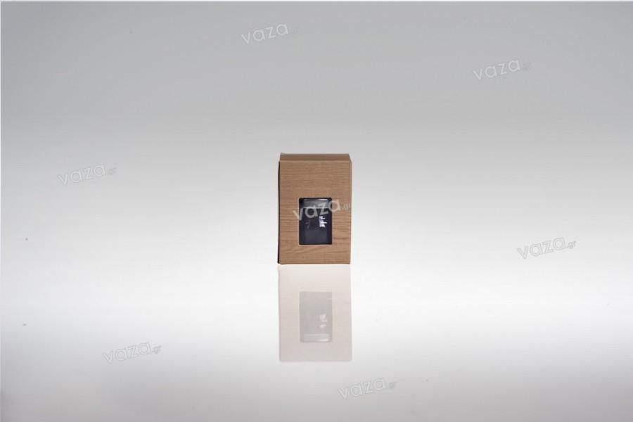 """Χάρτινο κουτάκι με παράθυρο με τύπωμα σχέδιο """"ξύλου"""" για βαζάκι 30ml και 40ml, 45x45x65 - 50 τμχ"""