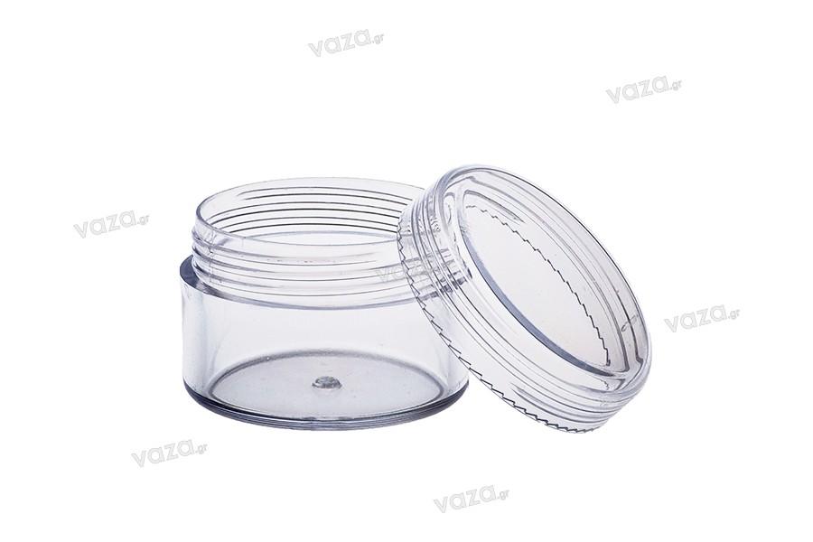Βάζο ακρυλικό 15 ml με καπάκι - 12 τμχ