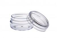 Pot acrylique transparent 20 ml avec couvercle – lot de 12 pièces