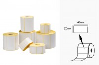 Θερμικές ετικέτες, χάρτινες, αυτοκόλλητες 40x20 mm σε ρολό - 1000 τμχ