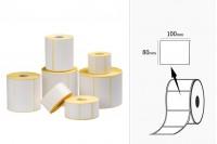 Θερμικές ετικέτες, χάρτινες, αυτοκόλλητες 100x80 mm σε ρολό - 1000 τμχ