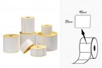 Θερμικές ετικέτες, χάρτινες, αυτοκόλλητες 45x35 mm σε ρολό - 1000 τμχ