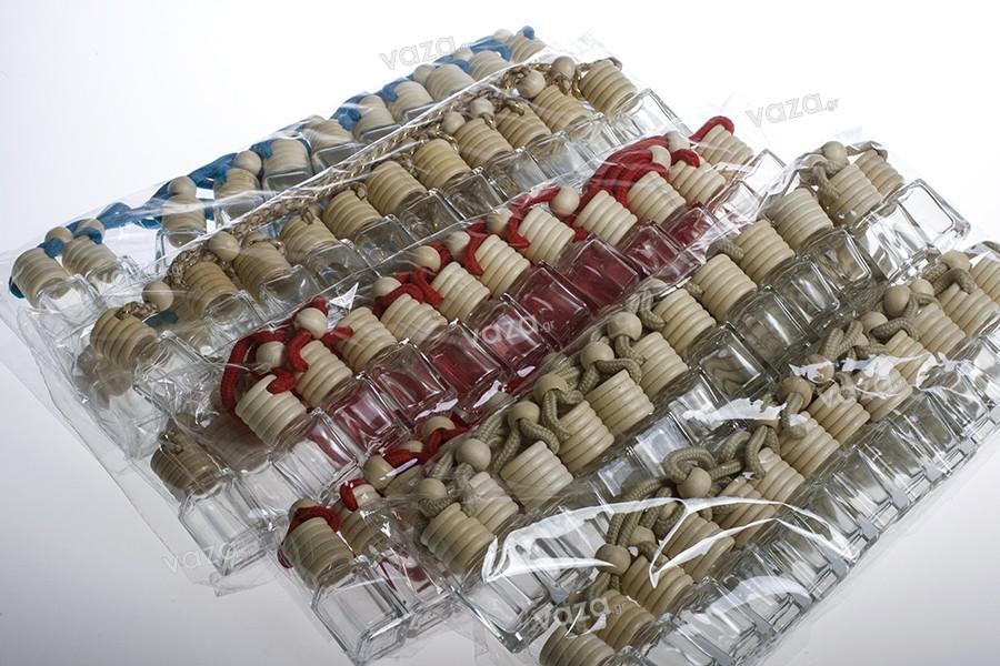 Μπουκαλάκι για αρωματικό αυτοκινήτων 4ml τετράγωνο με ξύλινο καπάκι και τάπα - 25 τμχ
