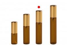 Μπουκαλάκι 10 ml γυάλινο, καραμελέ με σπρέι αλουμινίου σε χρυσό γυαλιστερό - 6 τμχ