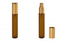 Μπουκαλάκι 12 ml γυάλινο, καραμελέ με σπρέι αλουμινίου σε χρυσό γυαλιστερό - 6 τμχ