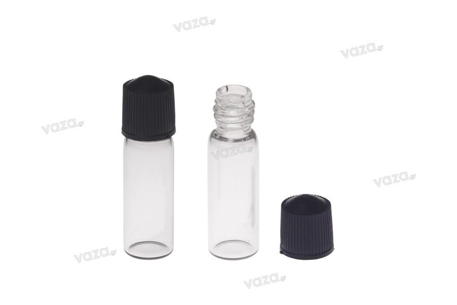 Μπουκαλάκι μινιατούρα 1 ml, γυάλινο 10x35 διάφανο με μαύρο, πλαστικό βιδωτό καπάκι