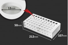 Στατώ σωληναρίων πλαστικό 212x107x50 mm σε λευκό χρώμα - 50 θέσεις (άνοιγμα τρύπας Φ 13 mm)