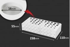 Support pour tubes en plastique 238x110x55 mm de couleur blanche - 50 places (trou 16 mm)