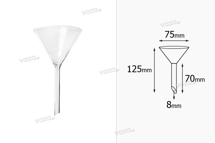 Χωνί γυάλινο - διάμετρος 75 mm ( απόληξη 8 mm)