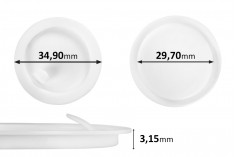 Παρέμβυσμα πλαστικό (PE) λευκό ύψος 3,15 mm - διάμετρος 34,90 mm (μικρή: 29,70 mm) - 12τμχ