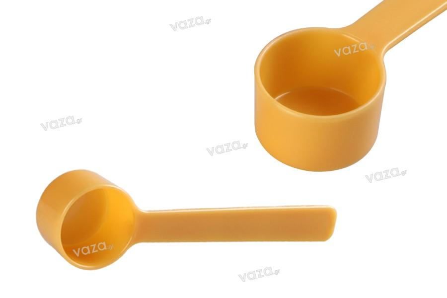 Μεζούρα - κουταλάκι μέτρησης 7 ml πλαστικό σε κίτρινο χρώμα - 6 τμχ