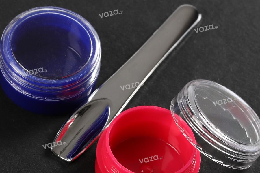 Σπάτουλα για κρέμα πλαστική (PE) ασημί  71x11 mm - 24 τμχ