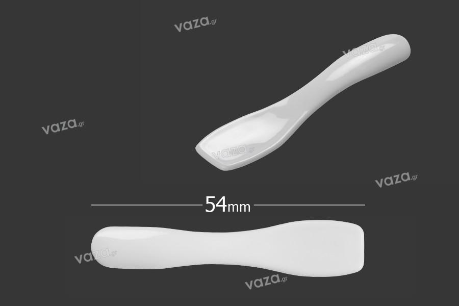 Σπάτουλα για κρέμα πλαστική (PE) λευκή γυαλιστερή 54x11 mm - 24 τμχ