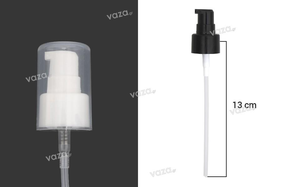 Αντλία πλαστική PP24 για κρέμα με διάφανο καπάκι