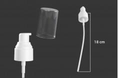 Αντλία κρέμας PP24 πλαστική σε λευκό χρώμα με διάφανο καπάκι