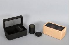 ΣΕΤ - Δερμάτινη θήκη (145x80x65 mm) με παράθυρο και δύο μεταλλικά κουτάκια αποθήκευσης (47x65 mm)