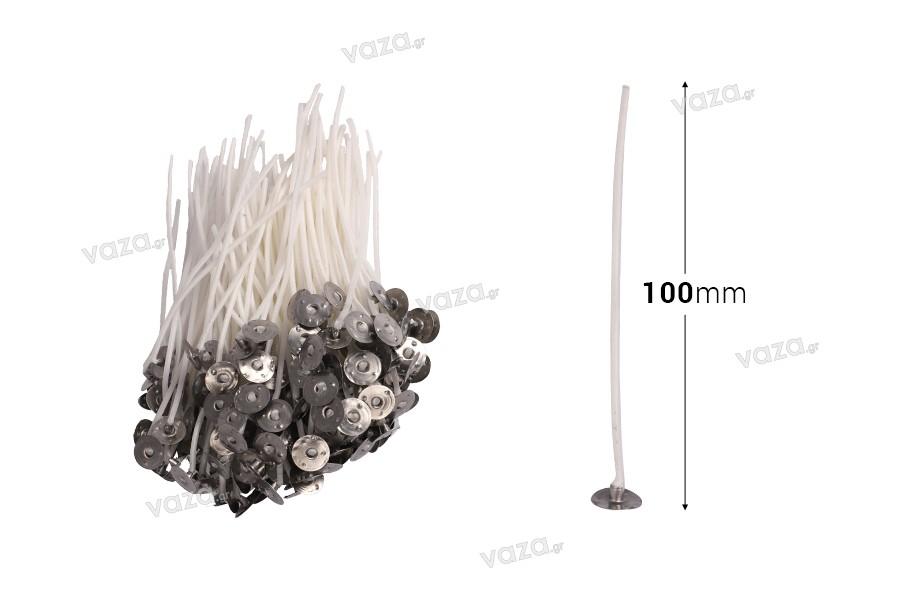 Φυτίλια βαμβακερά για κεριά με μήκος 100 mm και μεταλλική βάση - 200 τμχ