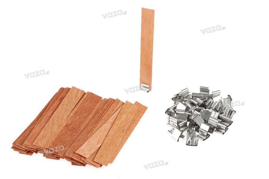 Φυτίλια ξύλινα 19x130 mm με μεταλλική βάση για κεριά - 100 τμχ