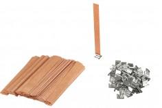 Φυτίλια ξύλινα 15x150 mm με μεταλλική βάση για κεριά - 100 τμχ
