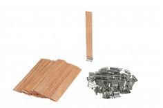 Φυτίλια ξύλινα 15x130 mm με μεταλλική βάση για κεριά - 100 τμχ