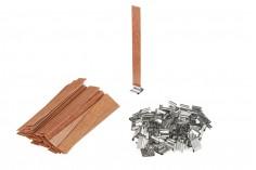 Φυτίλια ξύλινα 13x130 mm με μεταλλική βάση για κεριά - 100 τμχ
