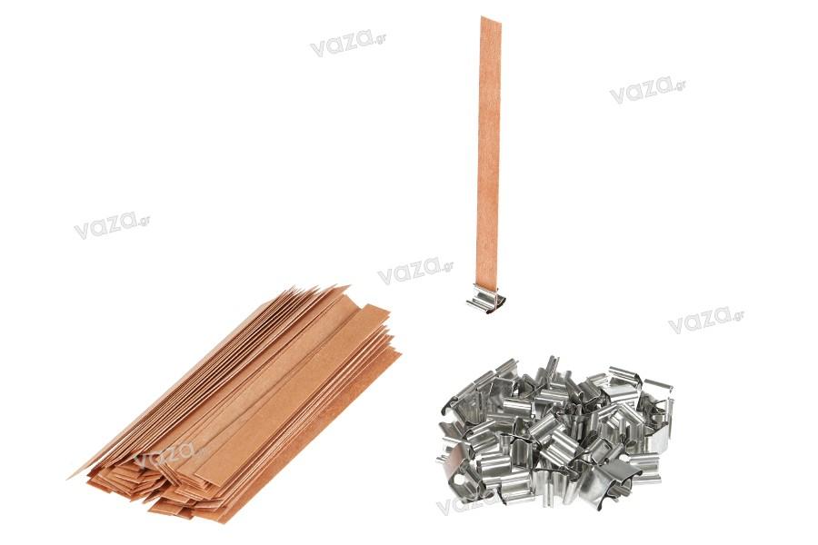 Φυτίλια ξύλινα 12,5x150 mm με μεταλλική βάση για κεριά - 100 τμχ