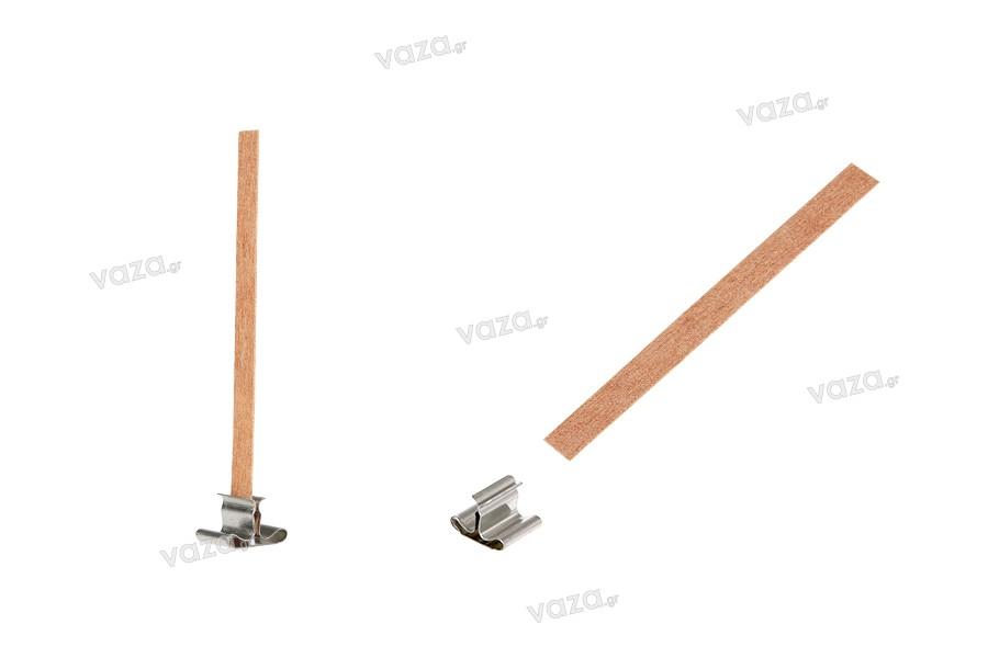 Φυτίλια ξύλινα 8x90 mm με μεταλλική βάση για κεριά - 100 τμχ